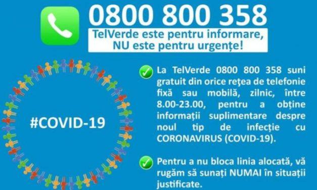 0800800358 – linia TELVERDE destinată cetăţenilor care doresc informaţii legate de prevenirea infectării cu virusul COVID-19
