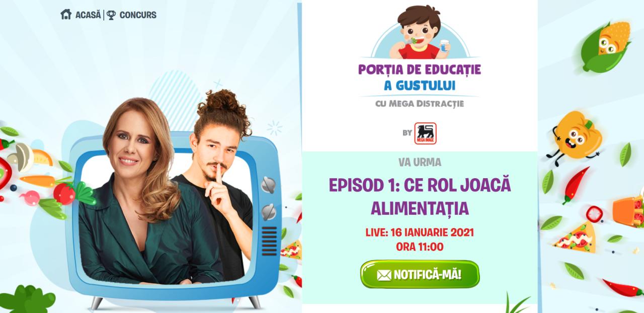 """Mega Image lansează programul de educație pentru o alimentație sănătoasă """"Porția de educație a gustului, cu mega distracție"""", pentru elevii din clasele primare"""