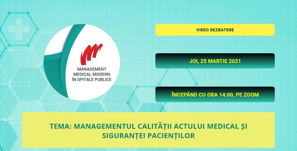 "Comunitatea SpitalePublice.ro: Pe 25 martie are loc un nou webinar ""Management Medical Modern"""
