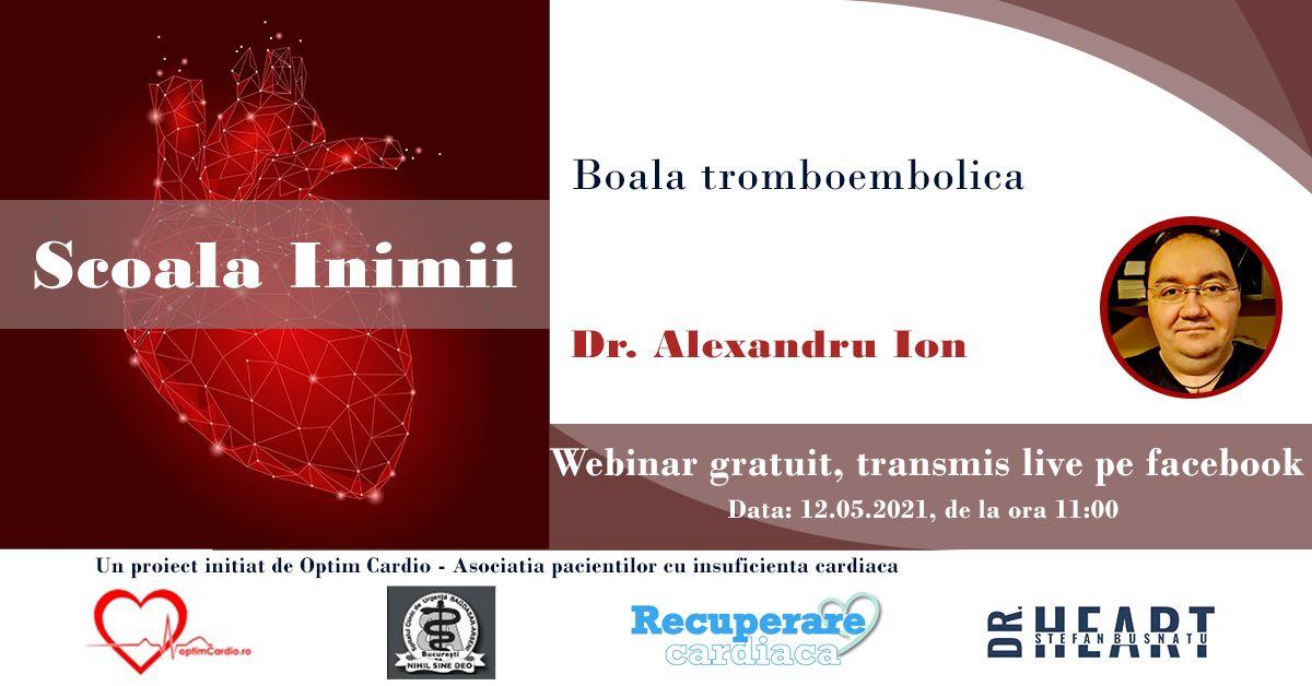 A noua sesiune Școala Inimii cu Dr. Alexandru Ion va avea loc miercuri – Boala tromboembolică